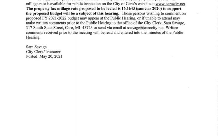 City Council Public Hearing Notice for 2021-2022 Budget 6-7-21