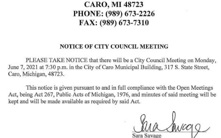 City Council Meeting Notice 6-7-21