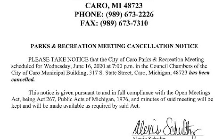 Parks and Recreation Cancellation Notice 6-16-21