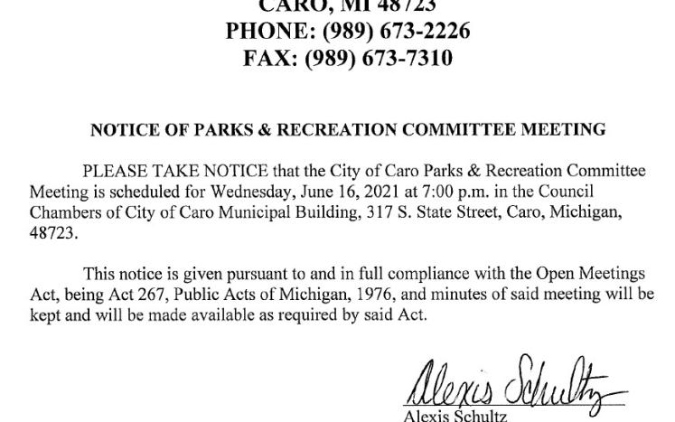 Parks and Recreation Meeting Notice 6-16-21