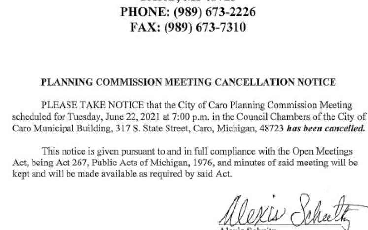 Planning Commission Meeting Cancellation Notice 6-22-21