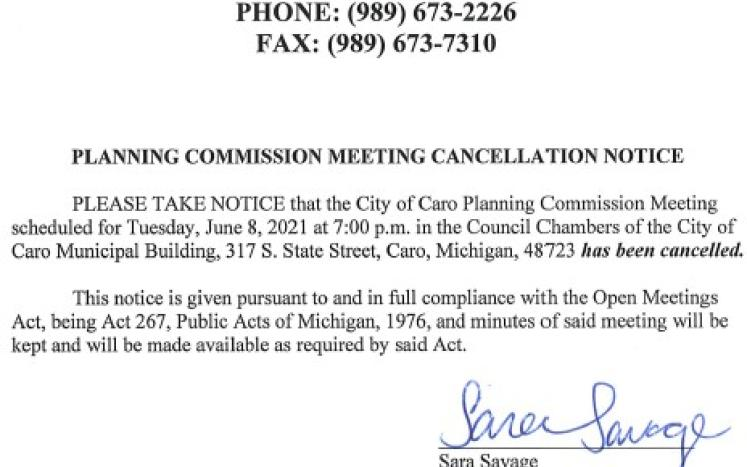Planning Commission Meeting Cancellation Notice 6-8-21
