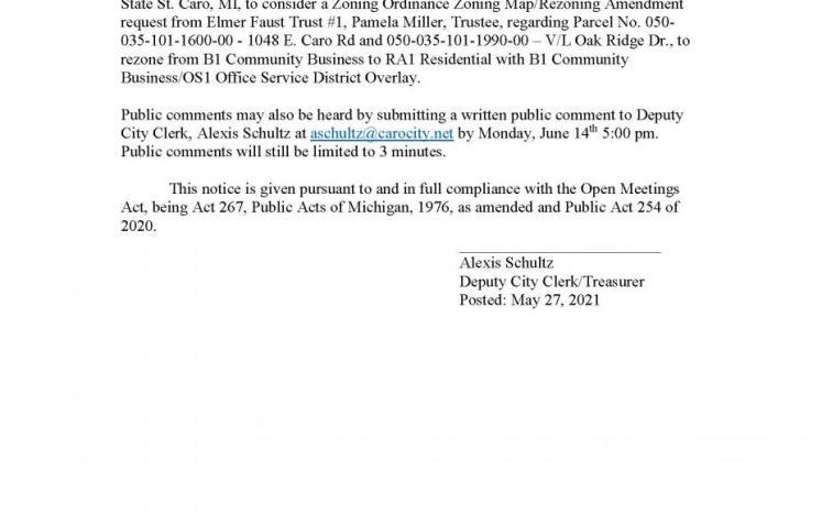 Planning Commission Public Hearing- Zoning Map Amendment- Elmer Faust Trust #1 6-14-21