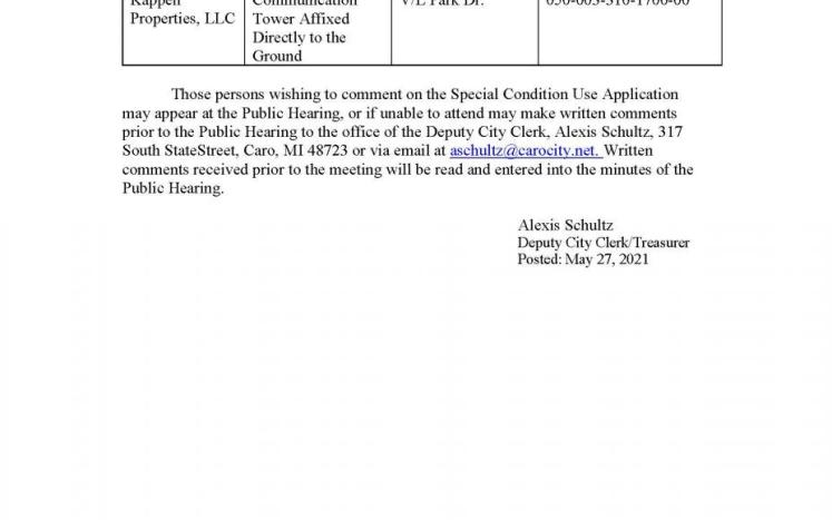 Planning Commission Public Hearing- Special Condition Use- Kappen Properties, LLC 6-14-21