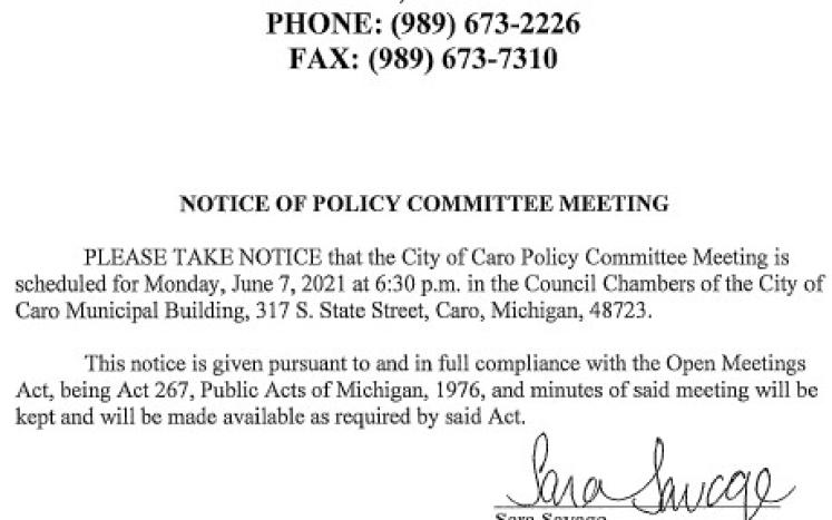 Policy Committee Meeting Notice 6-7-21