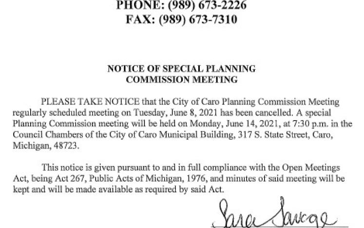 Special Planning Commission Notice 6-14-21
