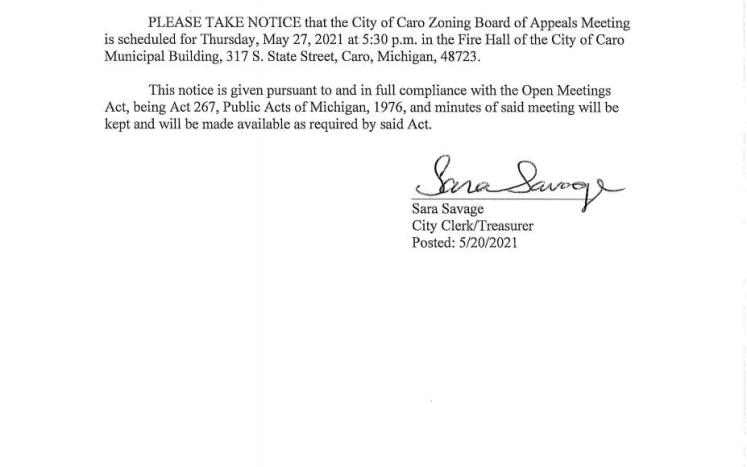 Zoning Board of Appeals Meeting Notice 5-27-21